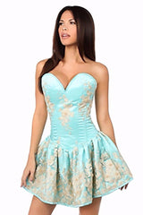 Top Drawer Premium Aqua Floral Steel Boned Short Corset Dress