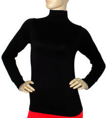 Black Seamless Long Sleeve Turtleneck Top