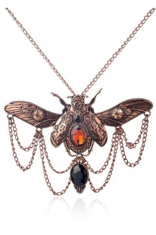 Copper Steampunk Beetle Necklace