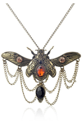 Bronze Steampunk Beetle Necklace
