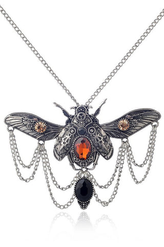 Silver Steampunk Beetle Necklace