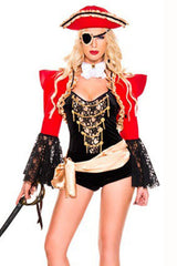 Black and Red Luxury Pirate Costume