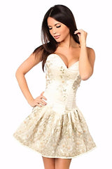 Top Drawer Premium Ivory Floral Steel Boned Short Corset Dress