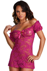 Purple Peasant Laced Babydoll