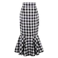 Plaid Package Hip Fishtail Skirt