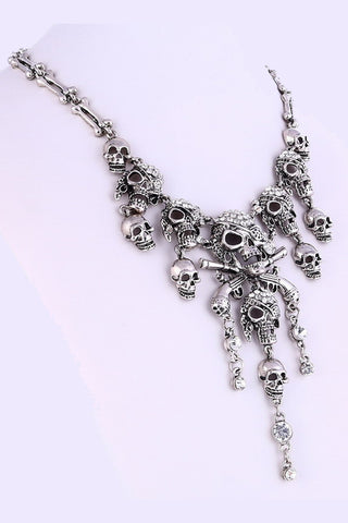 Silver Pirate Skull Necklace