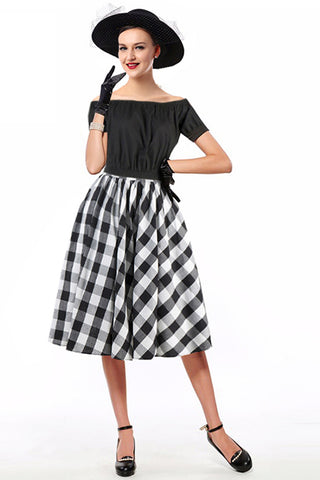 Black Off Shoulder Crop Top and Plaid Skirt Set