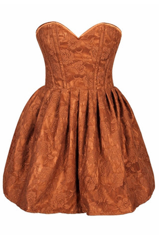 Top Drawer Premium Orange Floral Steel Boned Empire Waist Dress