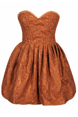 Top Drawer Orange Floral Steel Boned Empire Waist Dress