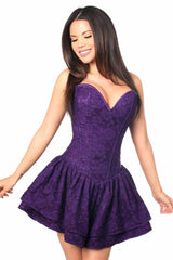 Top Drawer Premium Purple Lace Steel Boned Ruffle Corset Dress