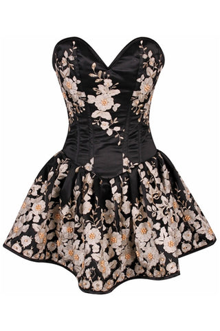 Top Drawer Premium Black Floral Steel Boned Short Corset Dress