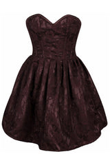 Top Drawer Brown Floral Steel Boned Empire Waist Dress