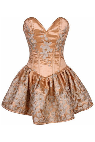 Top Drawer Premium Gold Floral Steel Boned Short Corset Dress