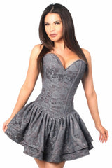 Top Drawer Premium Dark Grey Lace Steel Boned Ruffle Corset Dress
