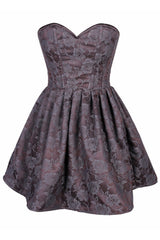 Top Drawer Gunmetal Floral Steel Boned Empire Waist Dress