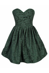 Top Drawer Dark Green Floral Steel Boned Empire Waist Dress