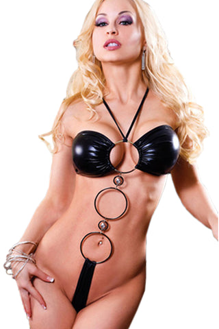 Black O-Rings Wetlook Teddy
