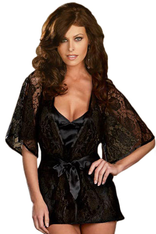 Black Floral Lace Robe