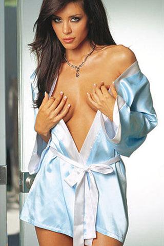 Hint of Blue Charmeuse Robe