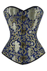 Blue and Gold Brocade Overbust Corset