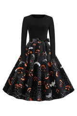 Black Cobweb and Bats Swing Dress