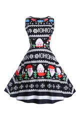 Black Sleeveless Santa Snowflake Dress