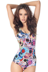 Day of the Dead Sugar Skull One Piece Swimsuit