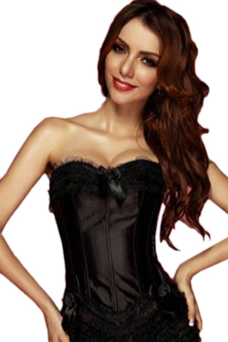 Black Satin Burlesque Overbust Corset