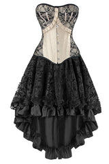 Victorian Inspired Apricot and Black Corset and Skirt