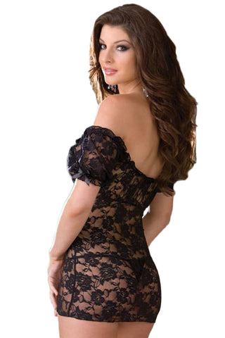 Black Peasant Laced Babydoll