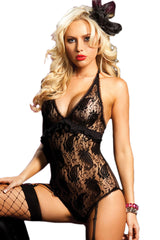 Black Paisley Lace Teddy