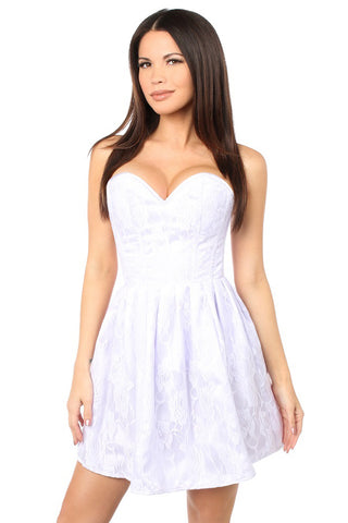 Top Drawer Premium White Floral Steel Boned Empire Waist Dress