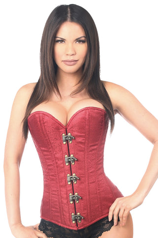 Wine Brocade Steel Boned Corset w/ Clasp Closure