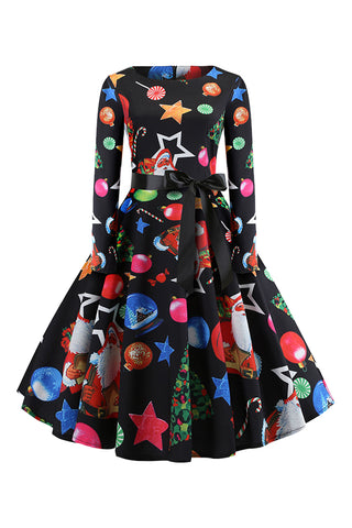 Black Christmas Ornament Midi Dress