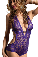 Purple Perfection Lace Mesh Teddy