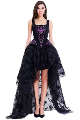 Black and Purple Embroidery Corset And Organza Skirt Set