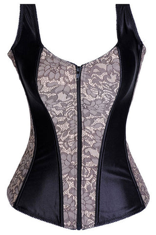 Gray and Black Satin Overbust Corset