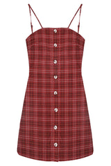 Red Plaid Buttoned Mini Dress