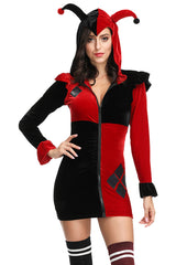 Black and Red Villainous Jester Costume