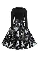 Black Cobweb and Ghost Swing Dress