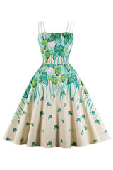 Green Garden Butterfly Swing Dress