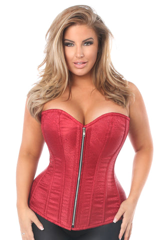 Wine Brocade Steel Boned Corset