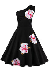 Black One-Shoulder Floral Cocktail Dress