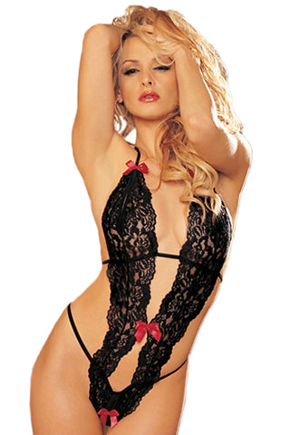 Black Lace Teddy with Bow Front
