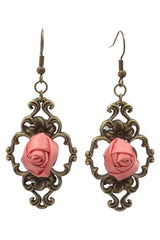 Pink Gothic Rose Drop Earrings