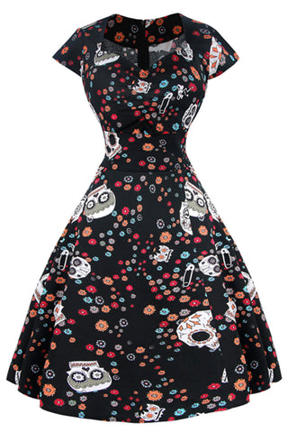 Black Floral Candy Skull Swing Dress