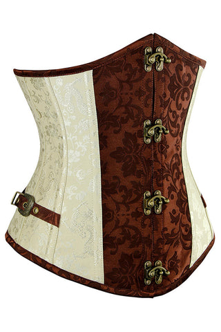 Two Toned Brocade Steampunk Steel Boned Underbust Corset