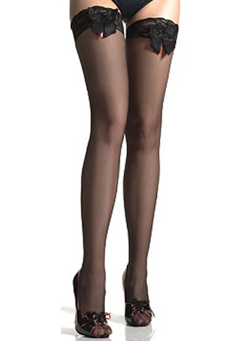 Black Sheer Thigh High Stockings With Bow Detail