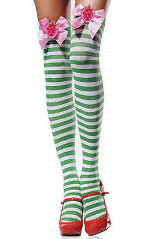 Green Strawberry Stripes Thigh High Stockings