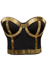 Black and Gold Bustier Top